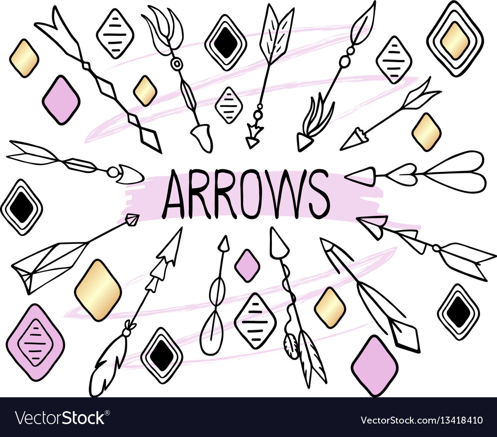 Arrows clipart on white background hand vector image