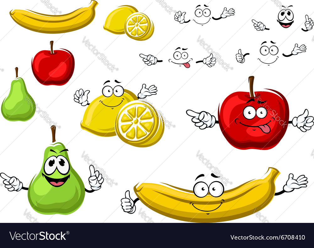 Cartoon apple lemon banana pear fruits vector image