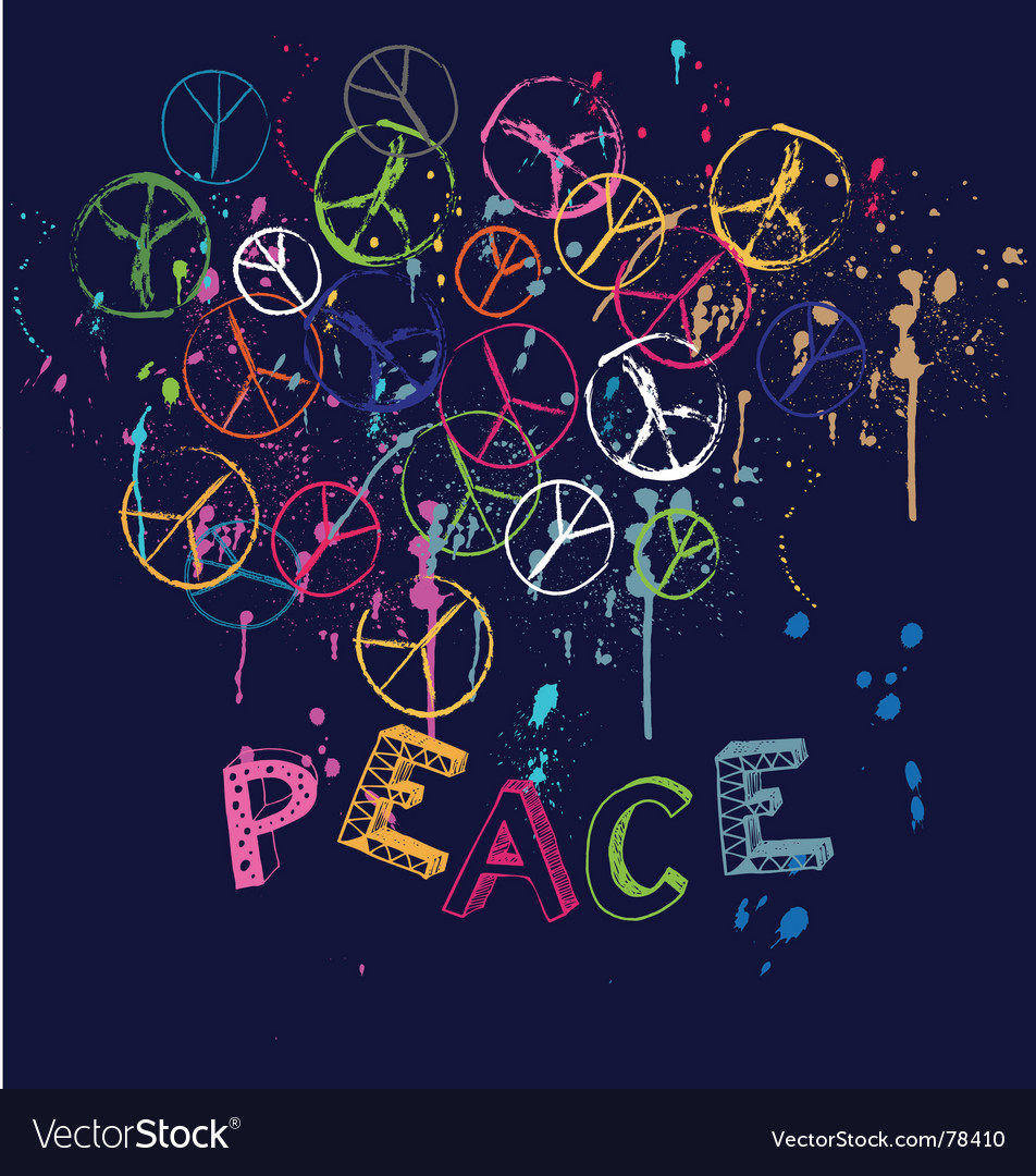 Drawn group of peace signs vector image