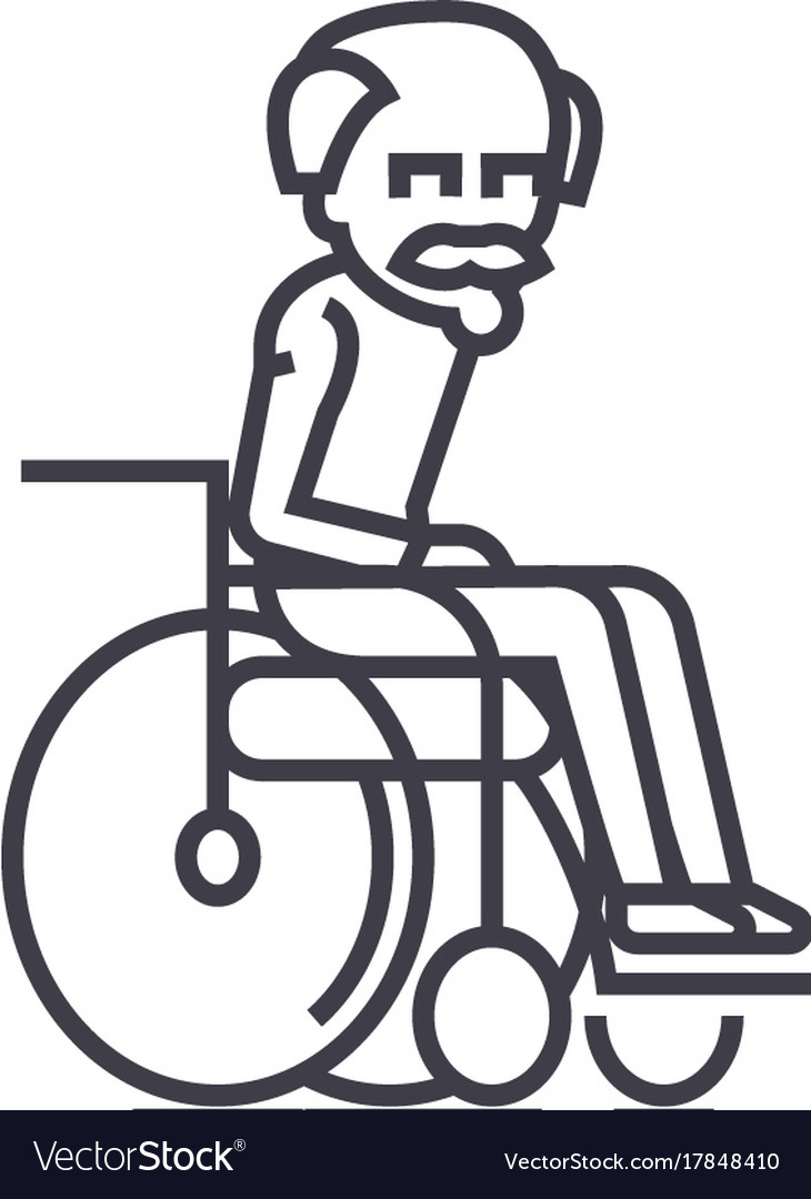 Elder mangrandfather line icon sign vector image