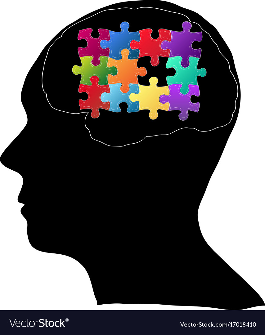 Human brain with jigsaw puzzle for think idea vector image