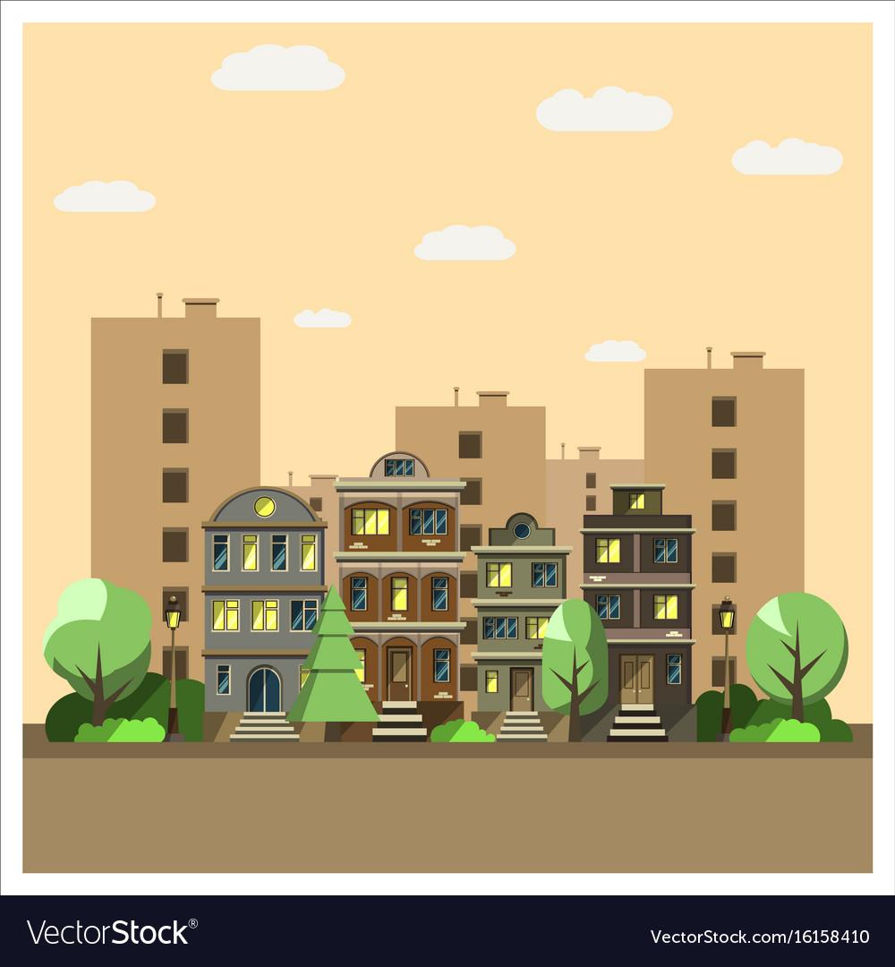 Landscape night city vector image