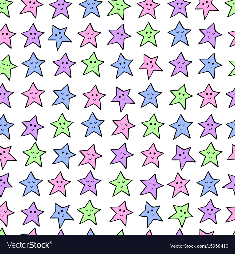 Seamless pattern with colored cartoon stars vector image
