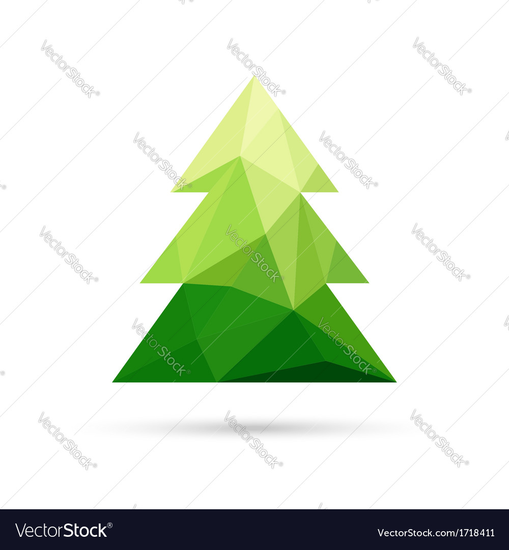 Abstract christmas tree made of triangles vector image