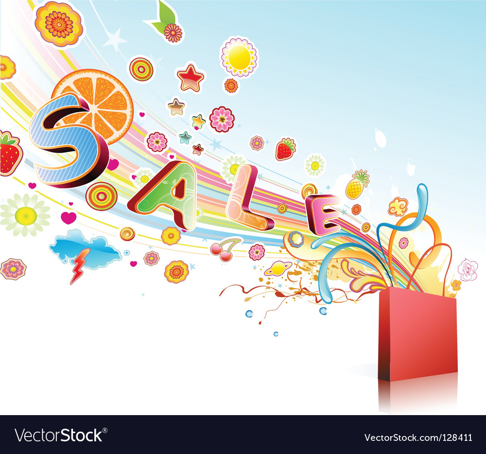 Funky shopping bag vector image