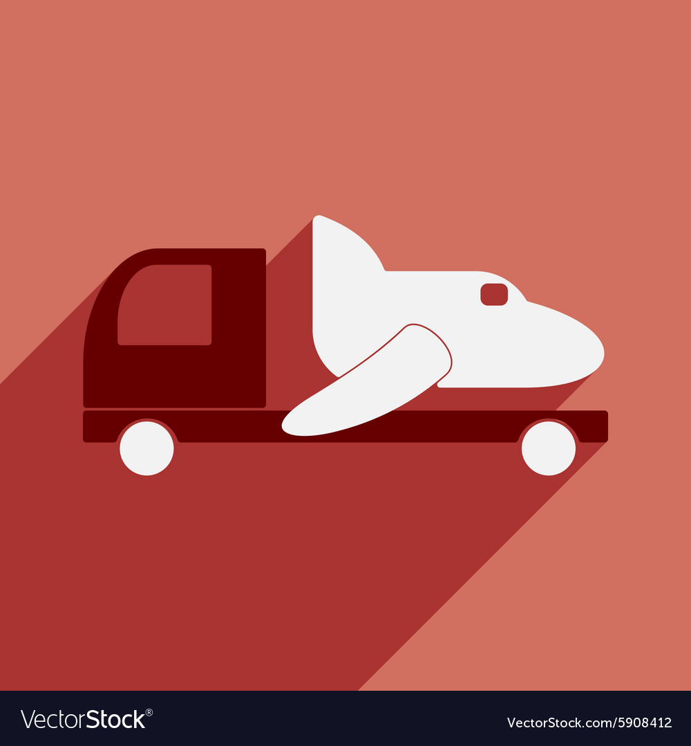 Flat with shadow icon and mobile application car