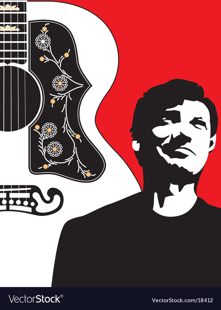 Acoustic guitar-bg-w-guy vector image