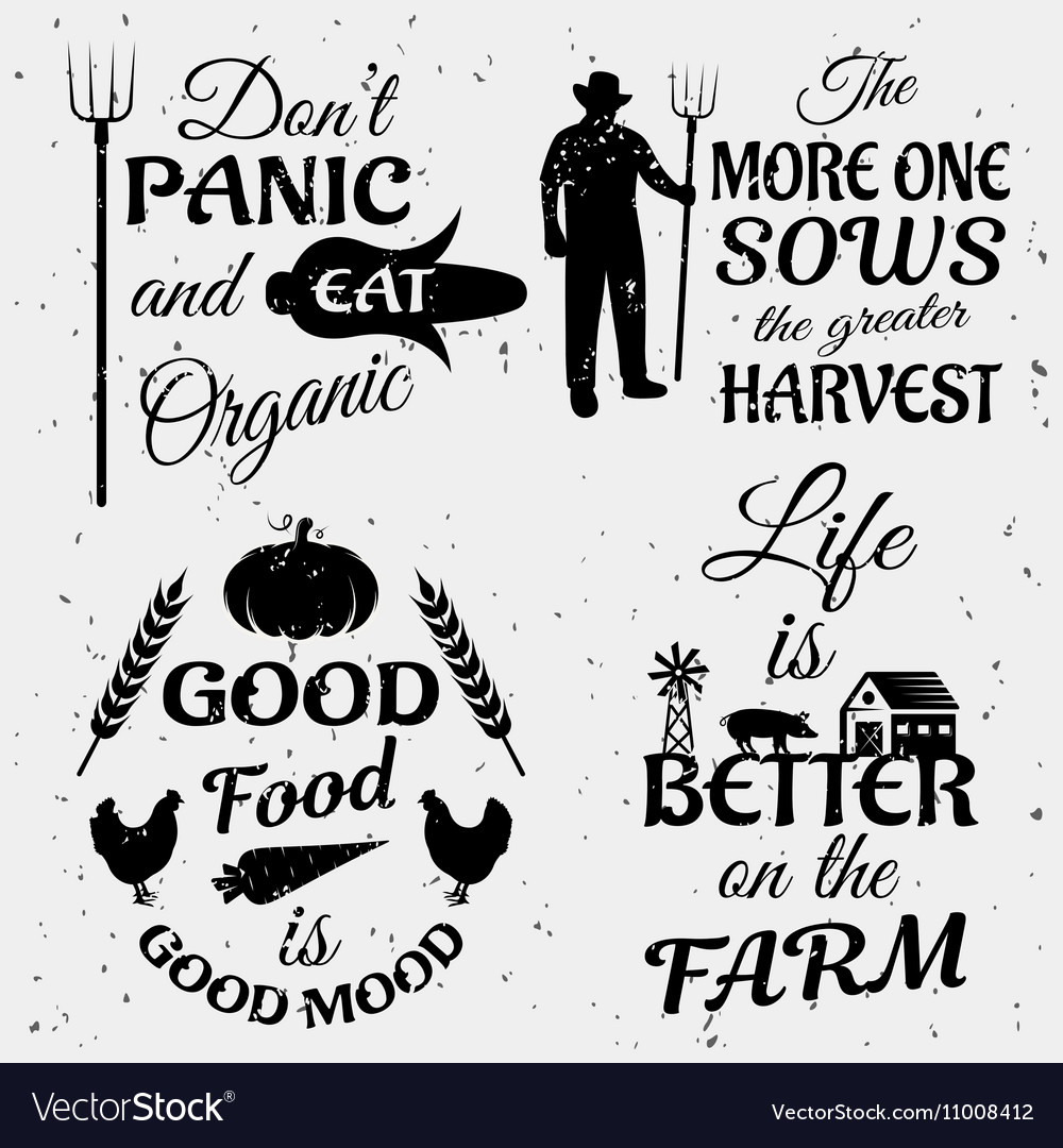 Farm Quotes Farm Quotes Monochrome Set Royalty Free Vector Image