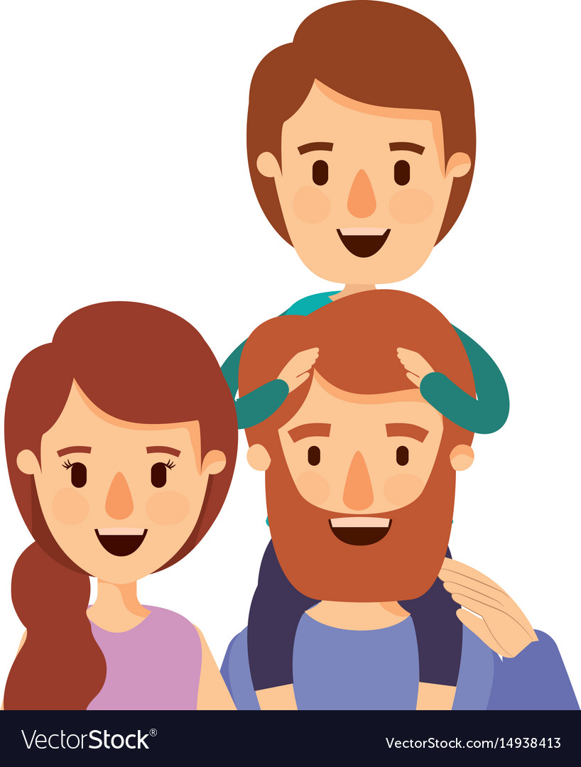 Colorful caricature half body family parents with vector image