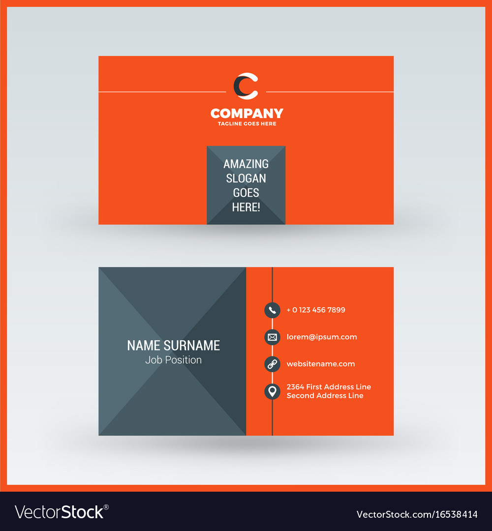 double sided horizontal business card template vector image. Black Bedroom Furniture Sets. Home Design Ideas
