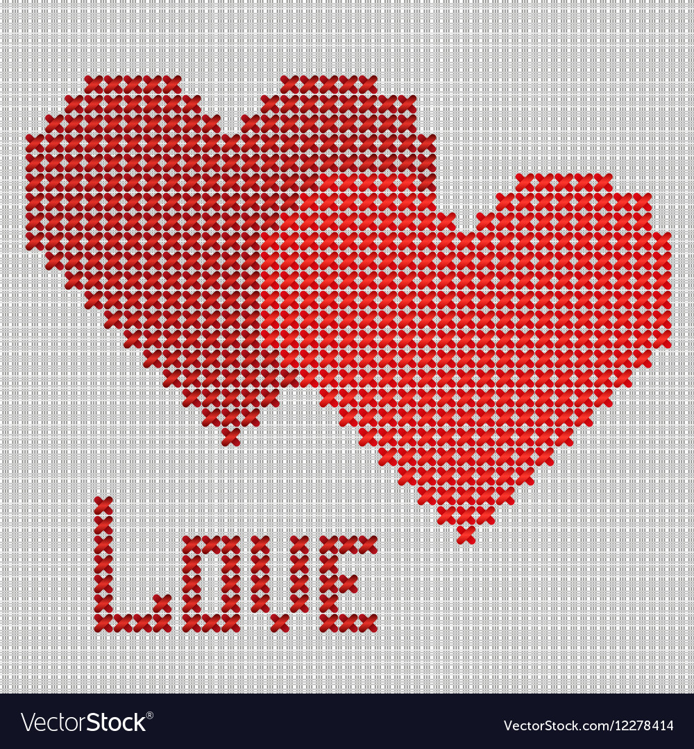 Hand-made red heart symbol vector image