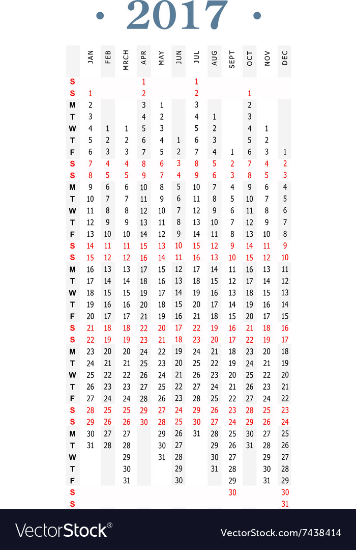 Vertical Calendar Design : Year simple vertical calendar royalty free vector image