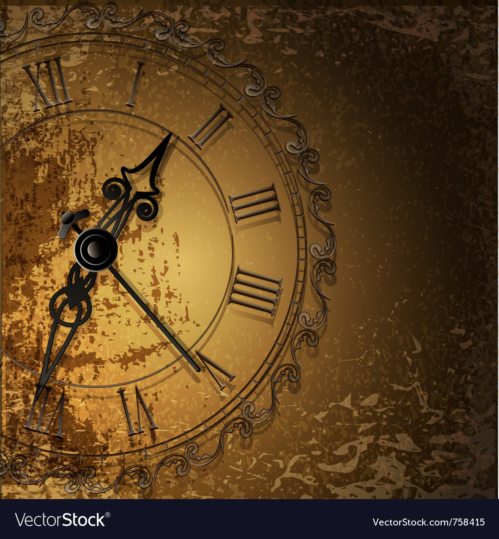Antique clock background vector image