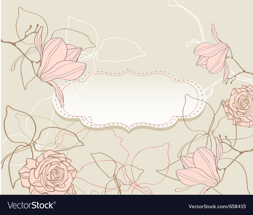 Background with flowers vintage style vector image