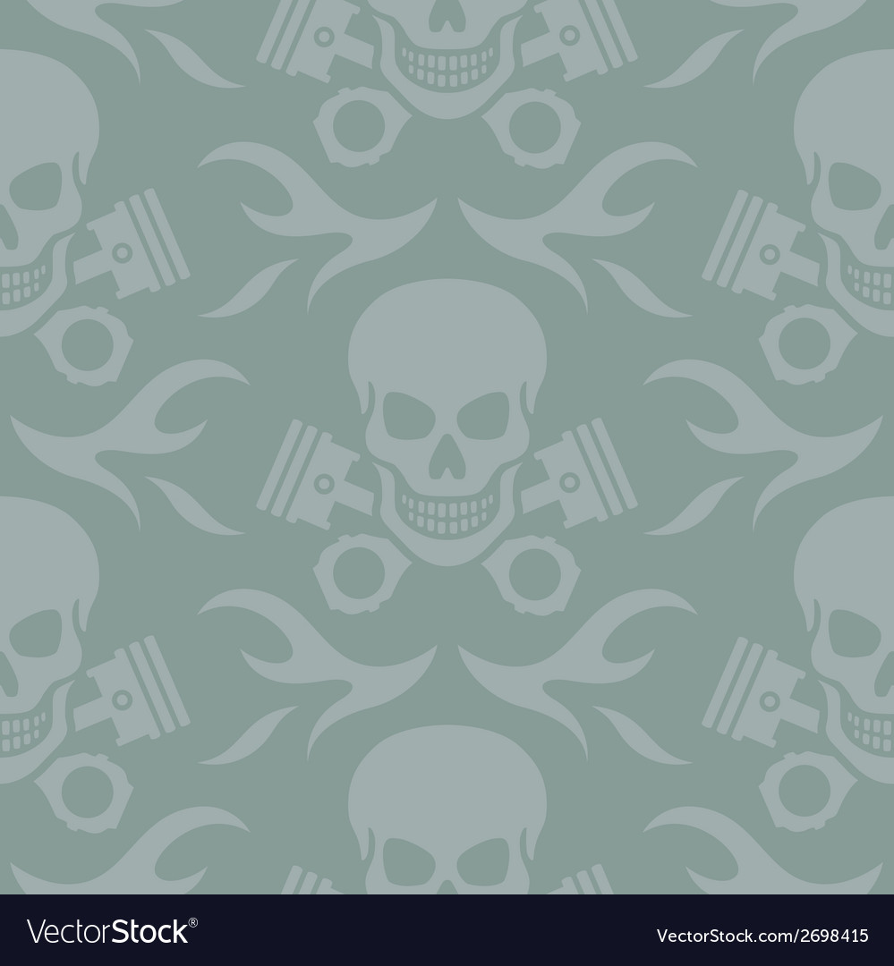 Skull and Pistons Seamless Background vector image