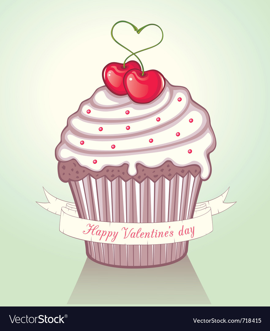valentine cupcake vector image - Valentine Cupcake
