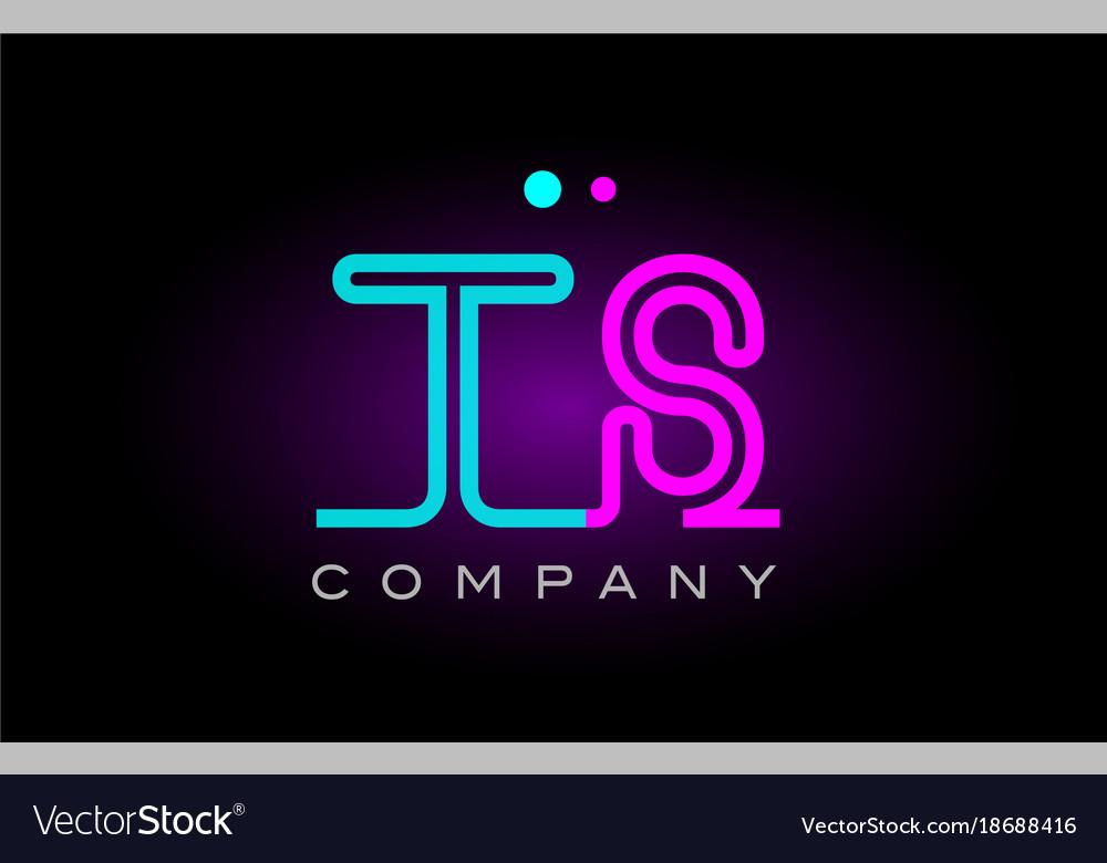 Neon lights alphabet ts t s letter logo icon vector image