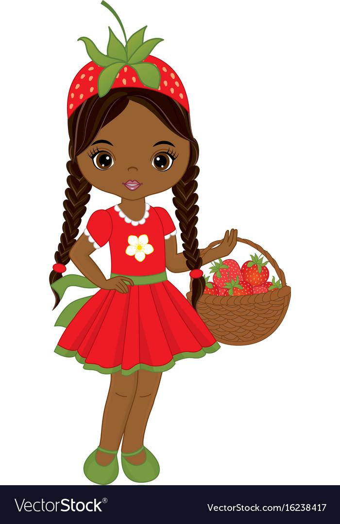 Cute little african american girl vector image