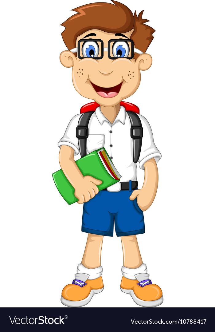 Cute student cartoon go to school vector image