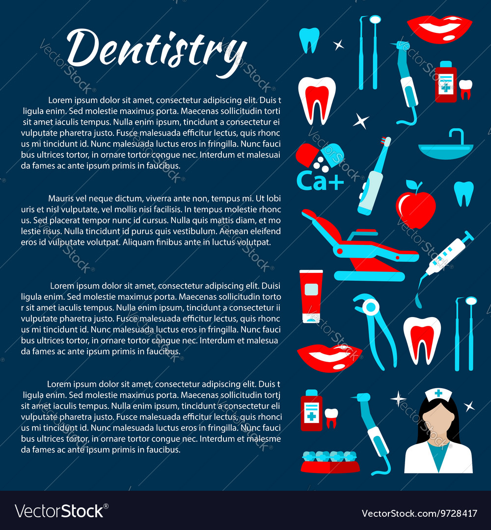 Dentistry infographics with dental care icons vector image