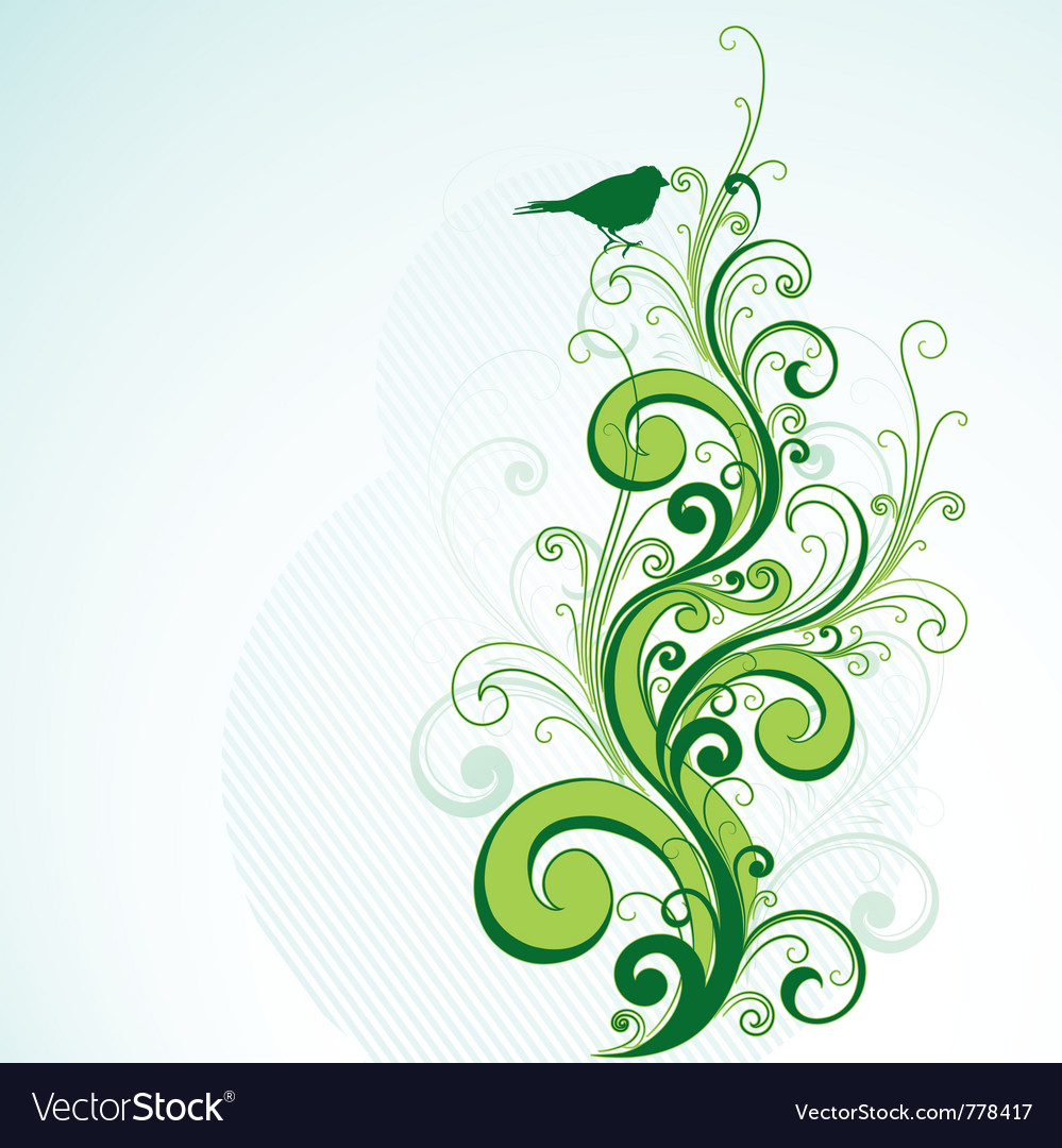 Green floral design vector graphic free vector graphics all free - Green Floral And Bird Design Vector Image