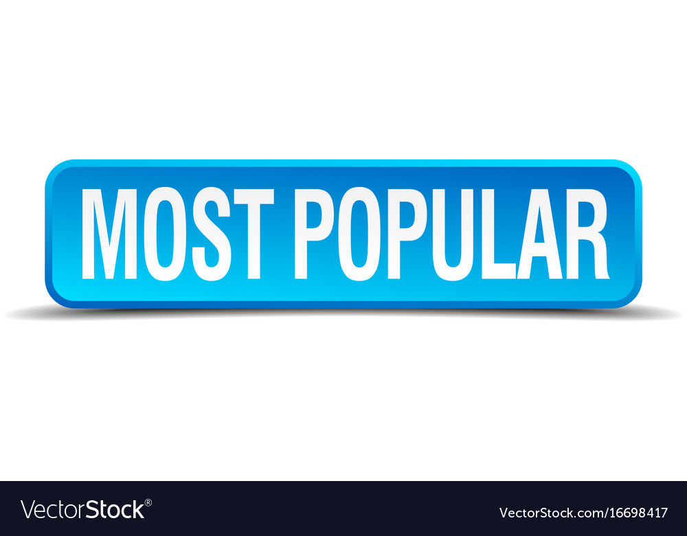 Most popular blue 3d realistic square isolated vector image