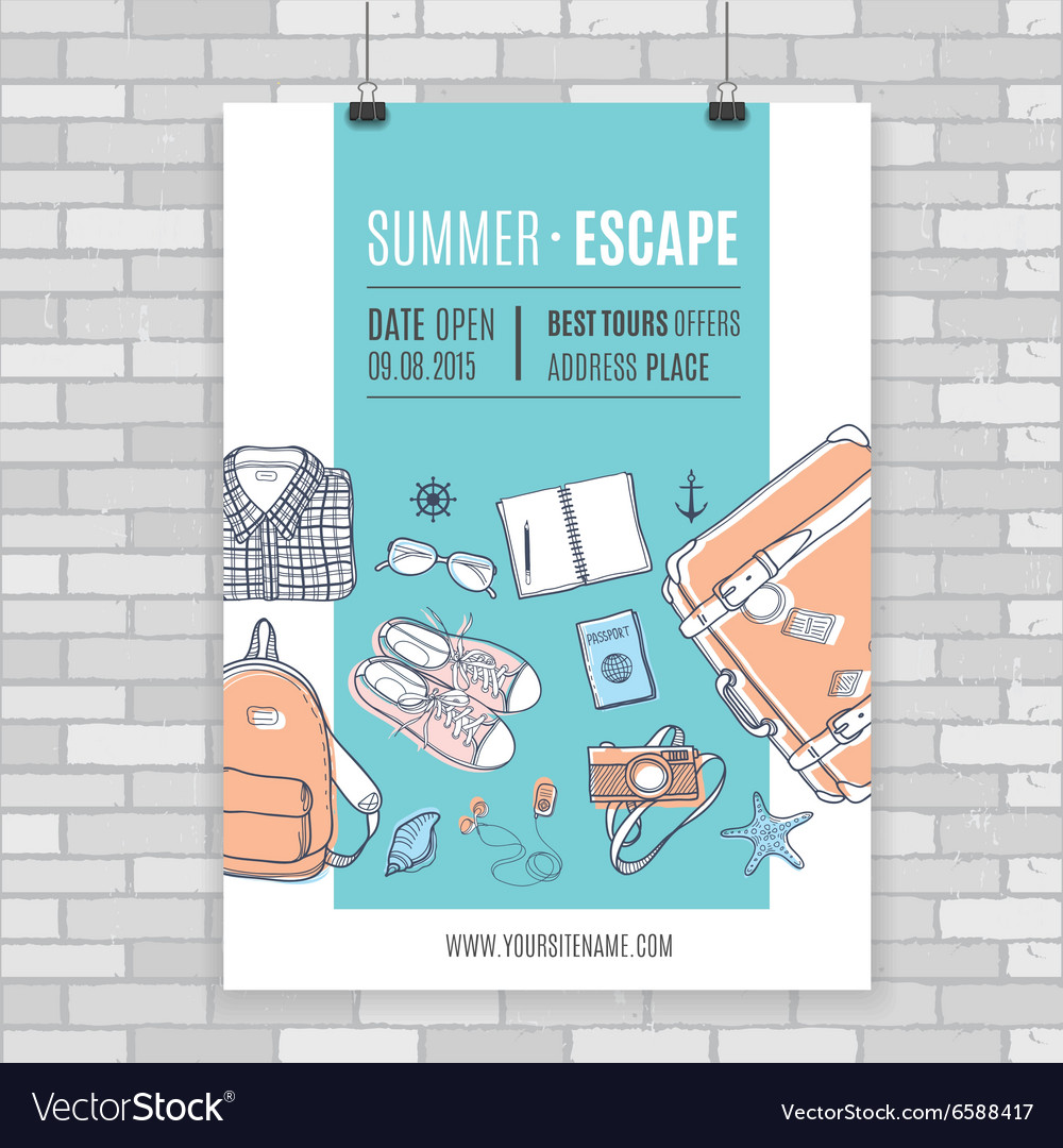 Poster about travelling vector image