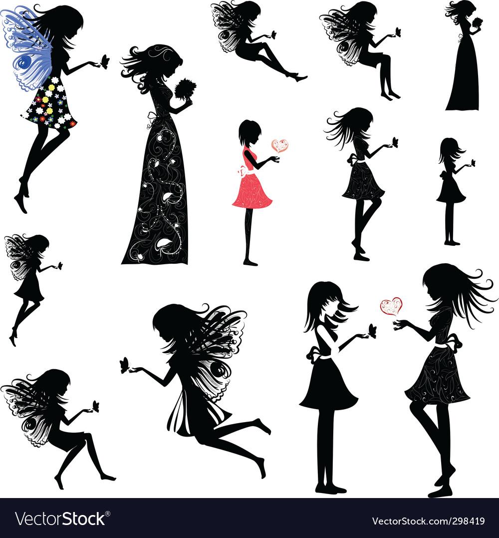 Girl fairy set vector image