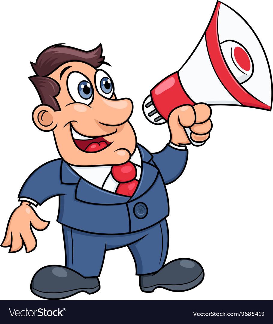 Businessman with megaphone vector image