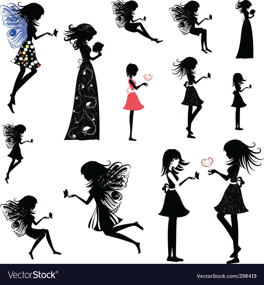 Girl fairy set vector image