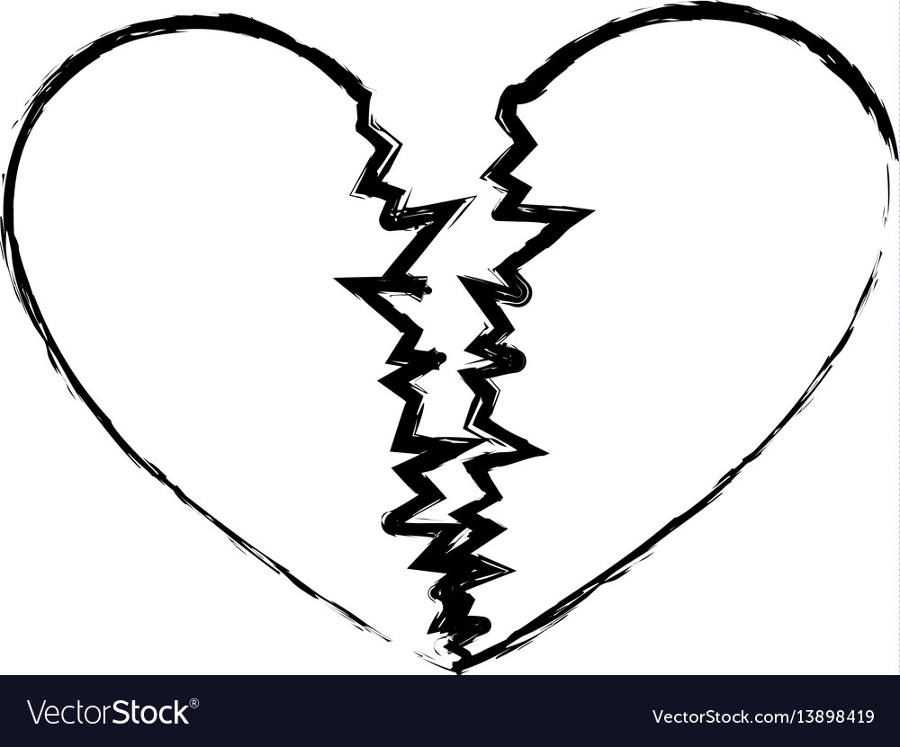 Monochrome sketch of broken heart royalty free vector image monochrome sketch of broken heart vector image biocorpaavc Images