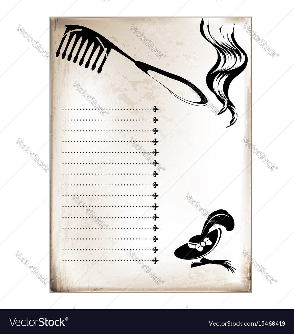 Vintage card comb and curl vector image