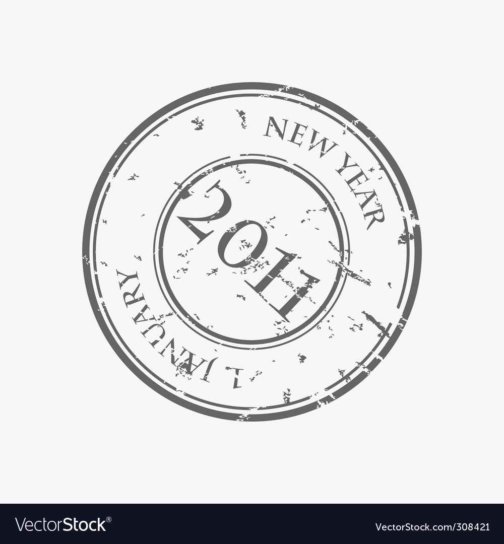 New year stamp vector image