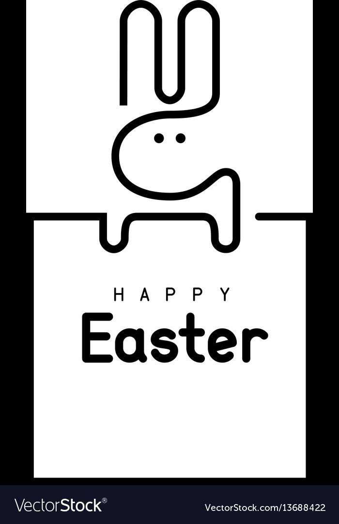 Easter bunny single line vector image
