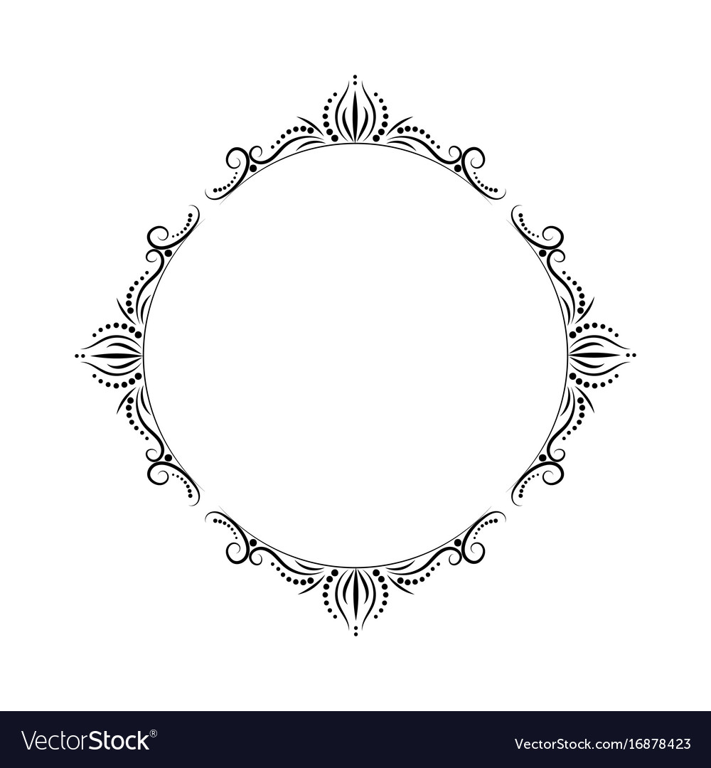Classic geometric round vintage black pattern on vector image