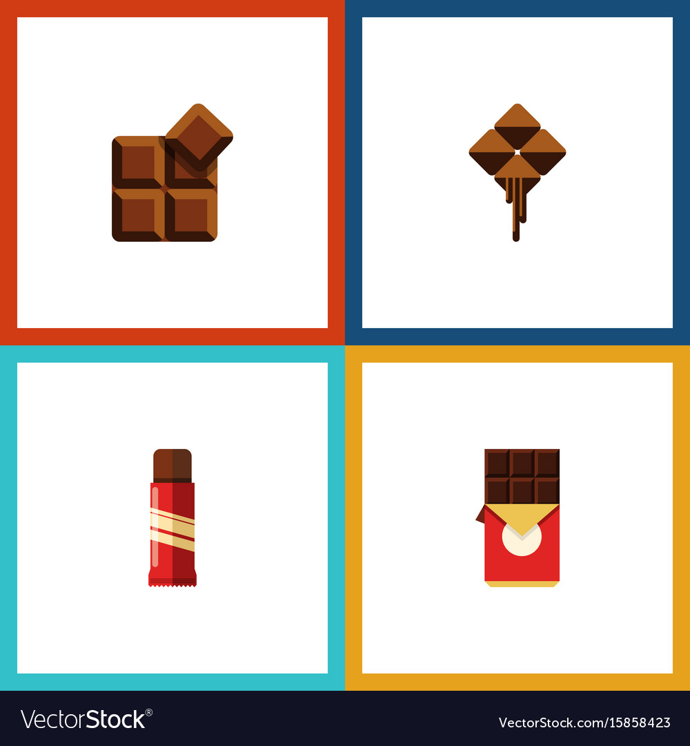 Flat icon sweet set of chocolate bar cocoa vector image