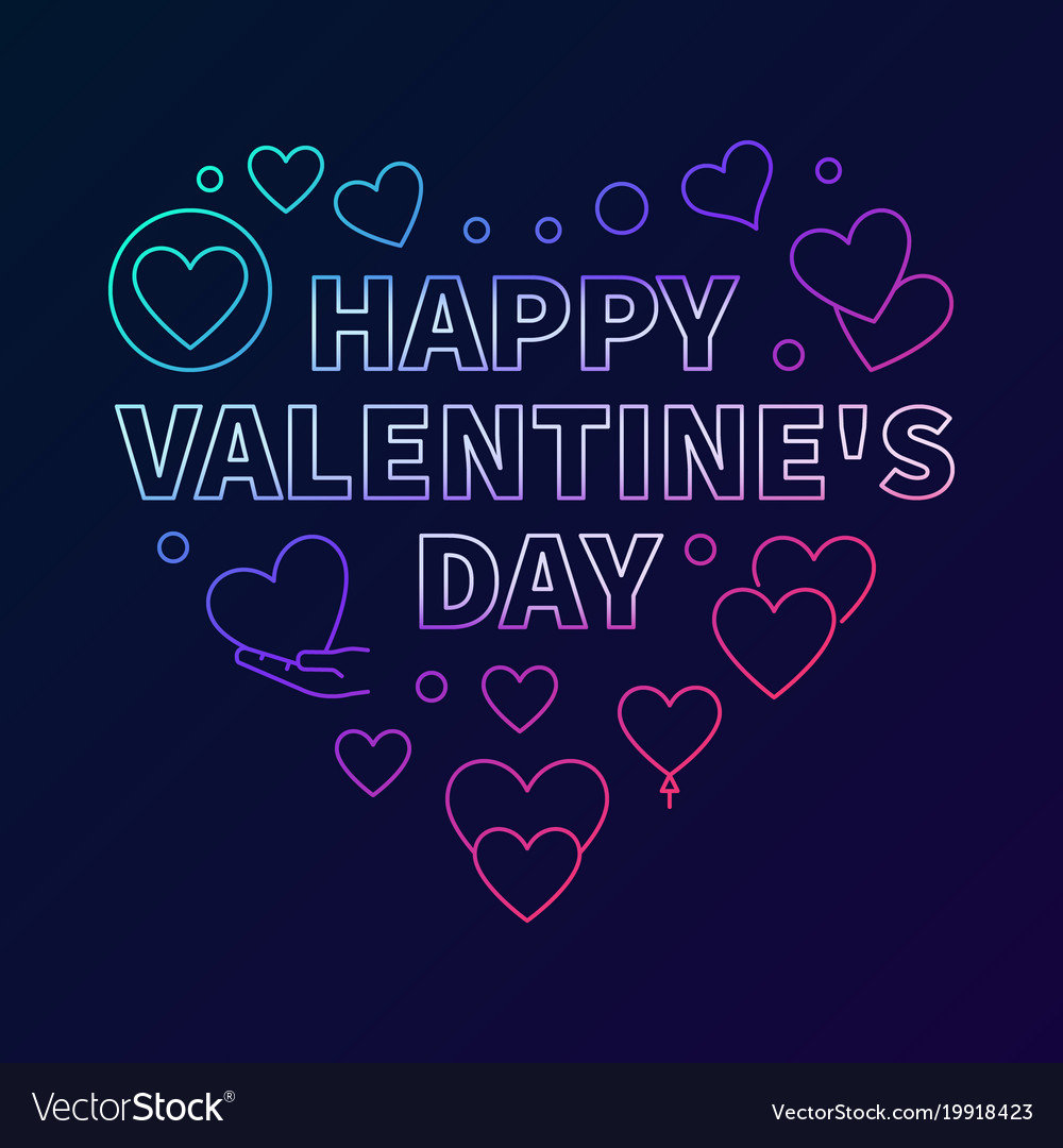 Happy valentines day heart colored vector image