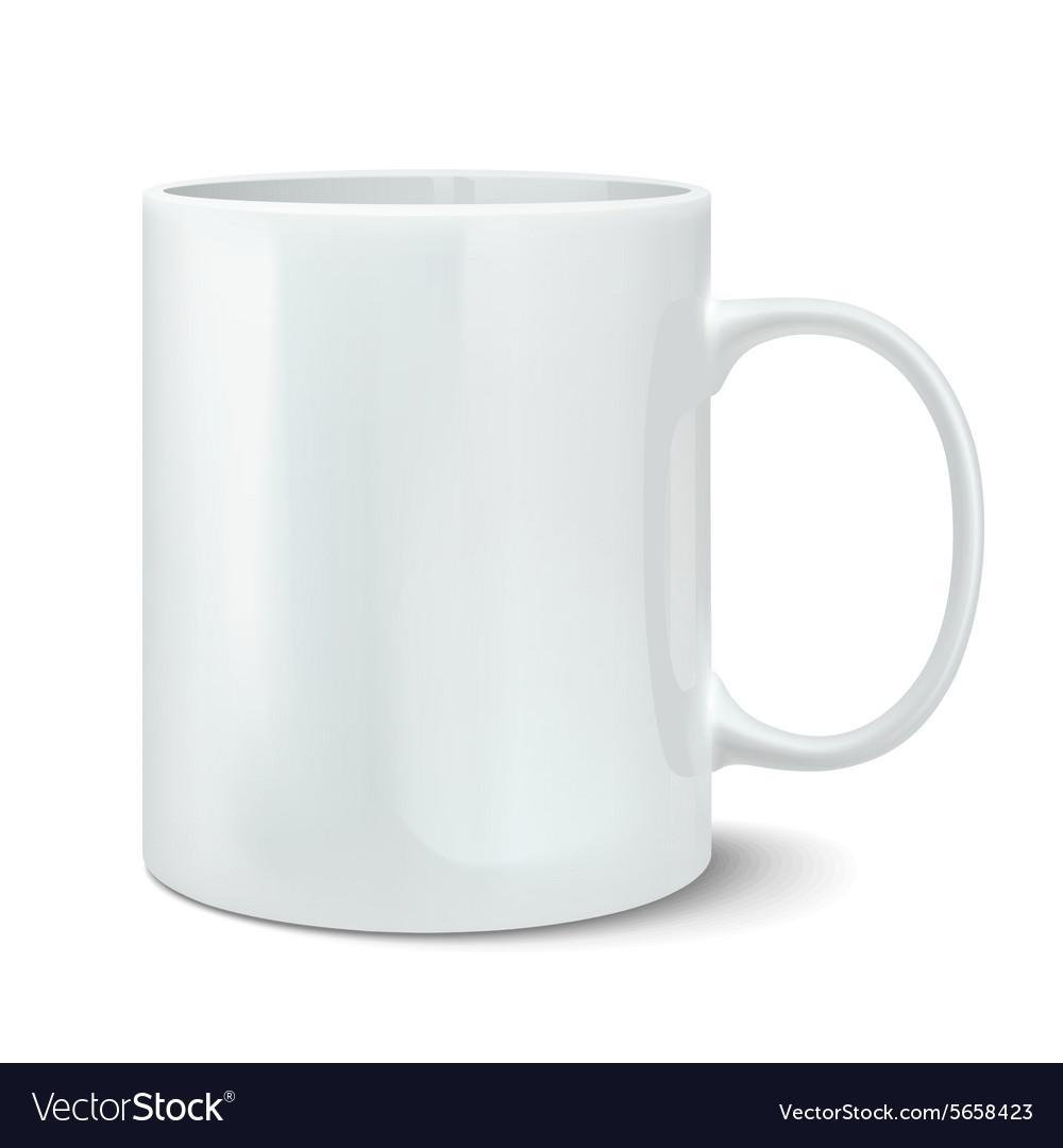 Realistic white mug vector image