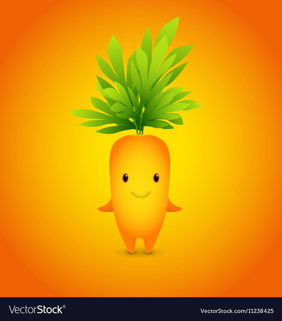 Baby Orange Carrot Cartoon Character vector image