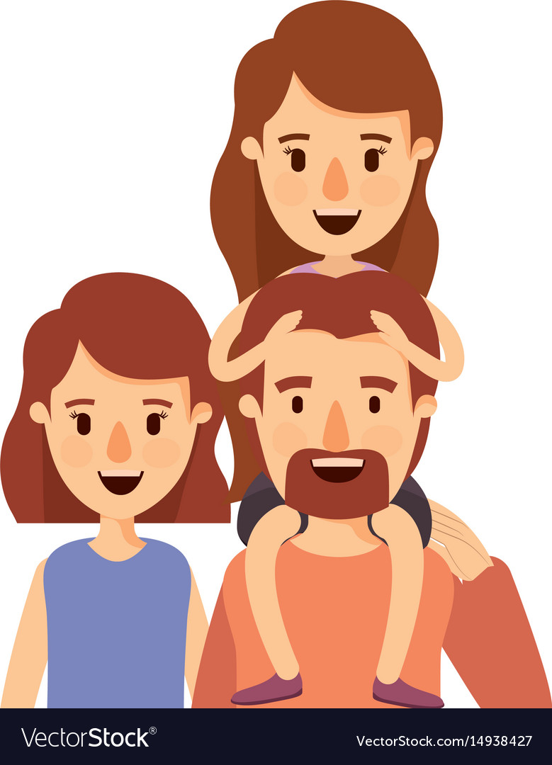 Colorful caricature half body big family parents vector image