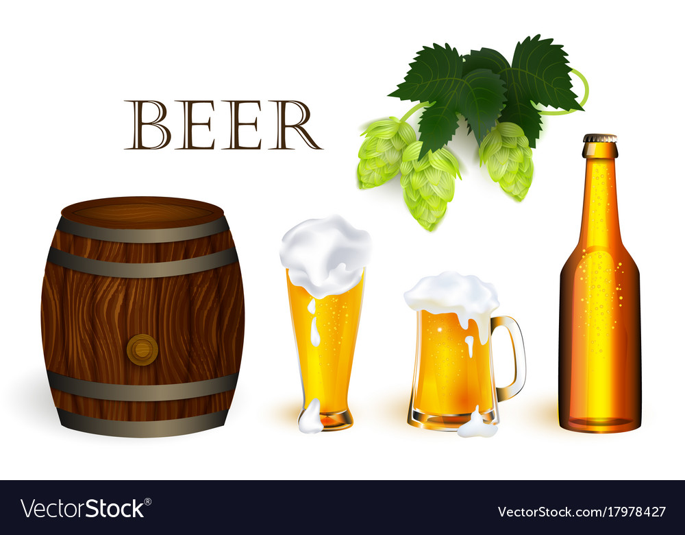 Realistic beer symbols objects set vector image