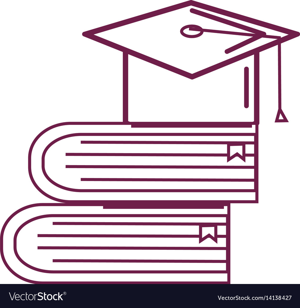 Silhouette books tools with graduation cap icon vector image