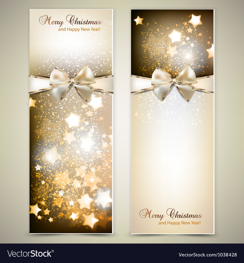Greeting cards with white bows and copy space vector image
