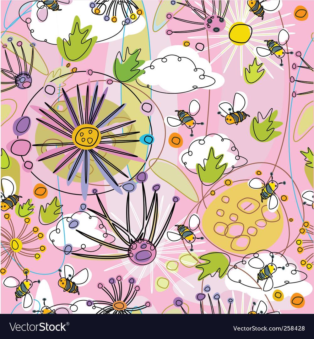 Seamless floral backgroundo vector image