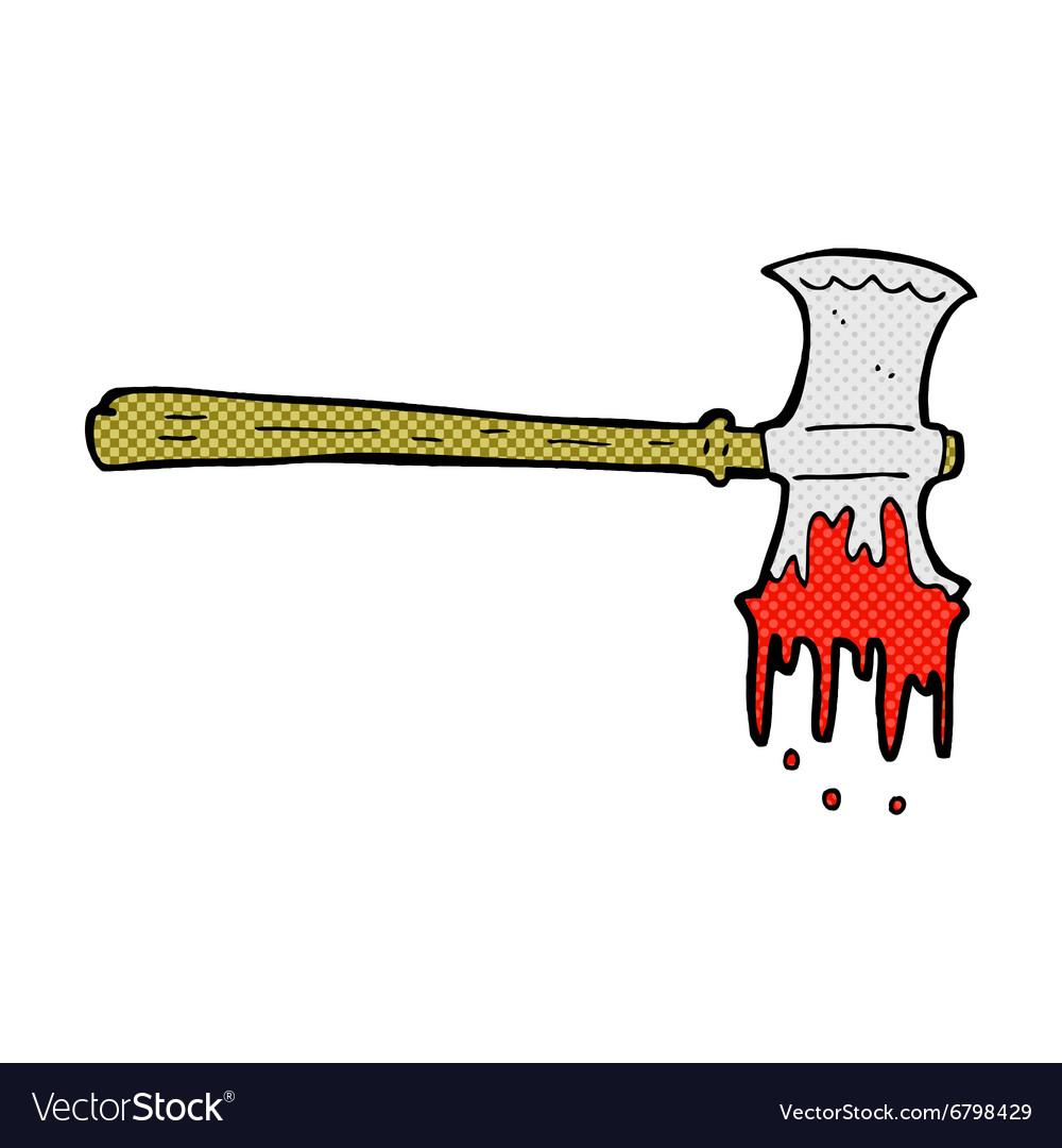 Comic cartoon bloody axe vector image