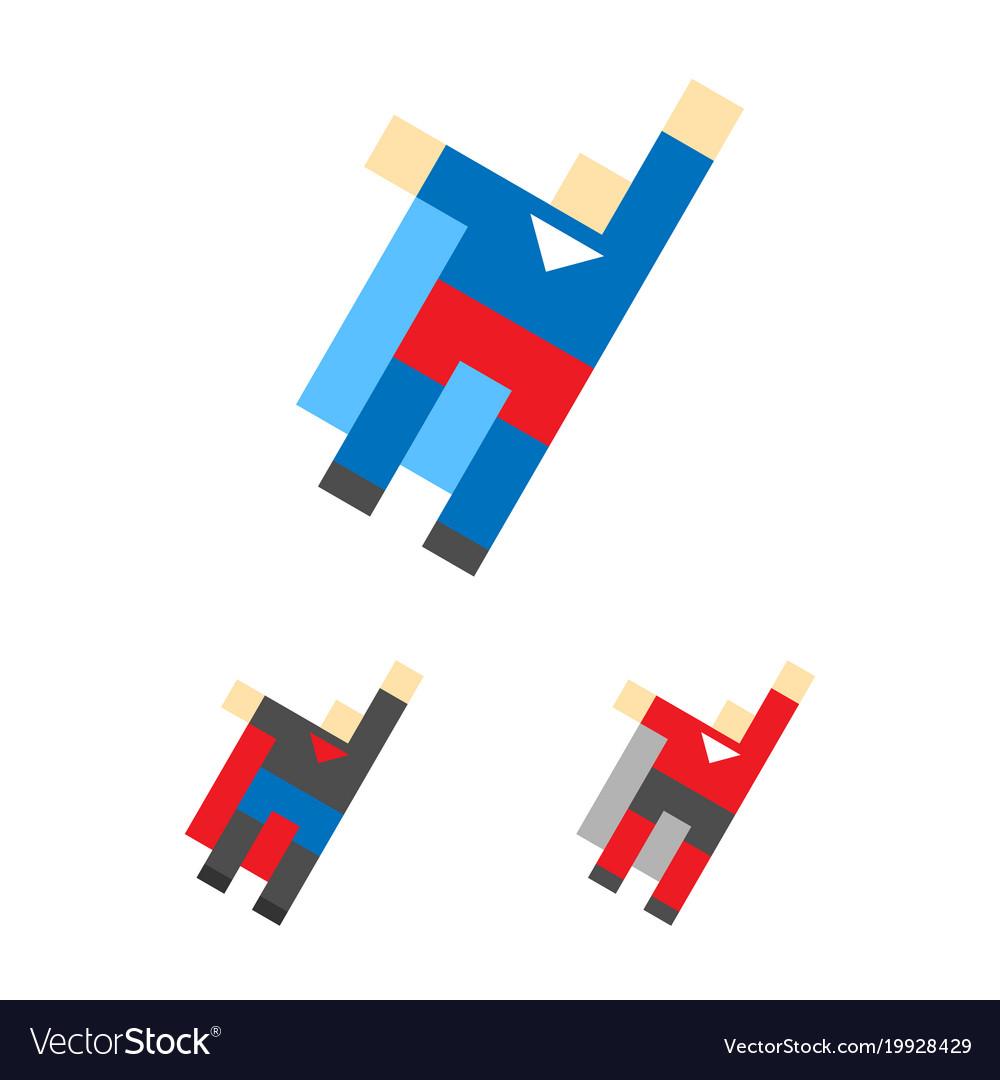 Superhero logo template super hero logotype set vector image