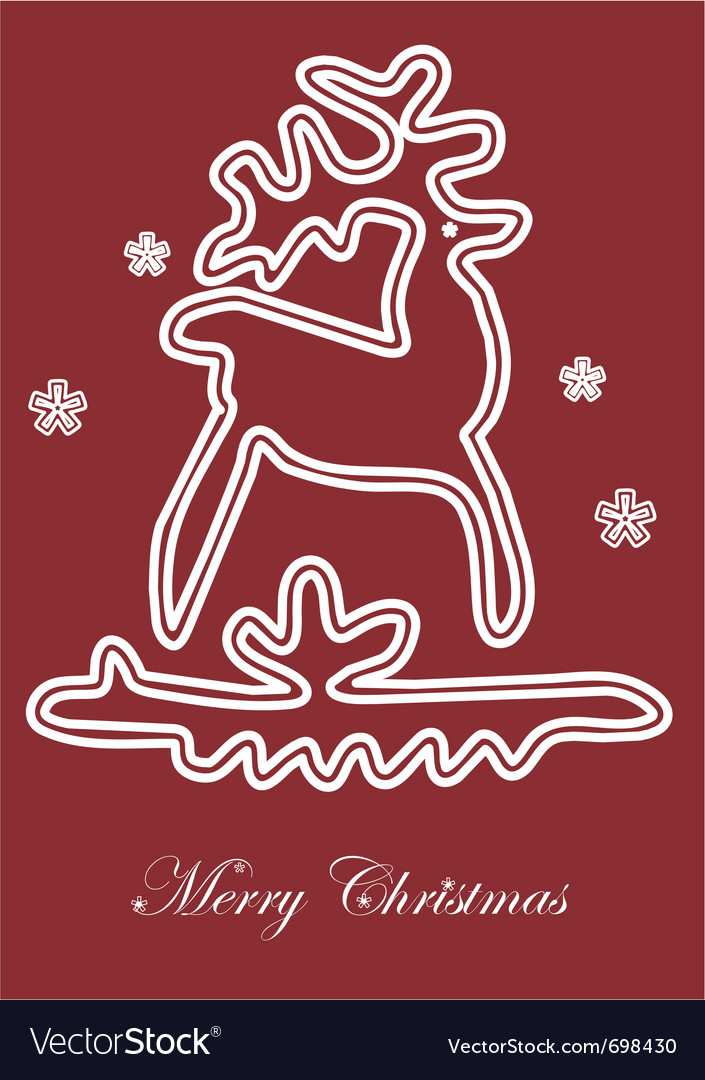 Lace christmas deer cards vector image