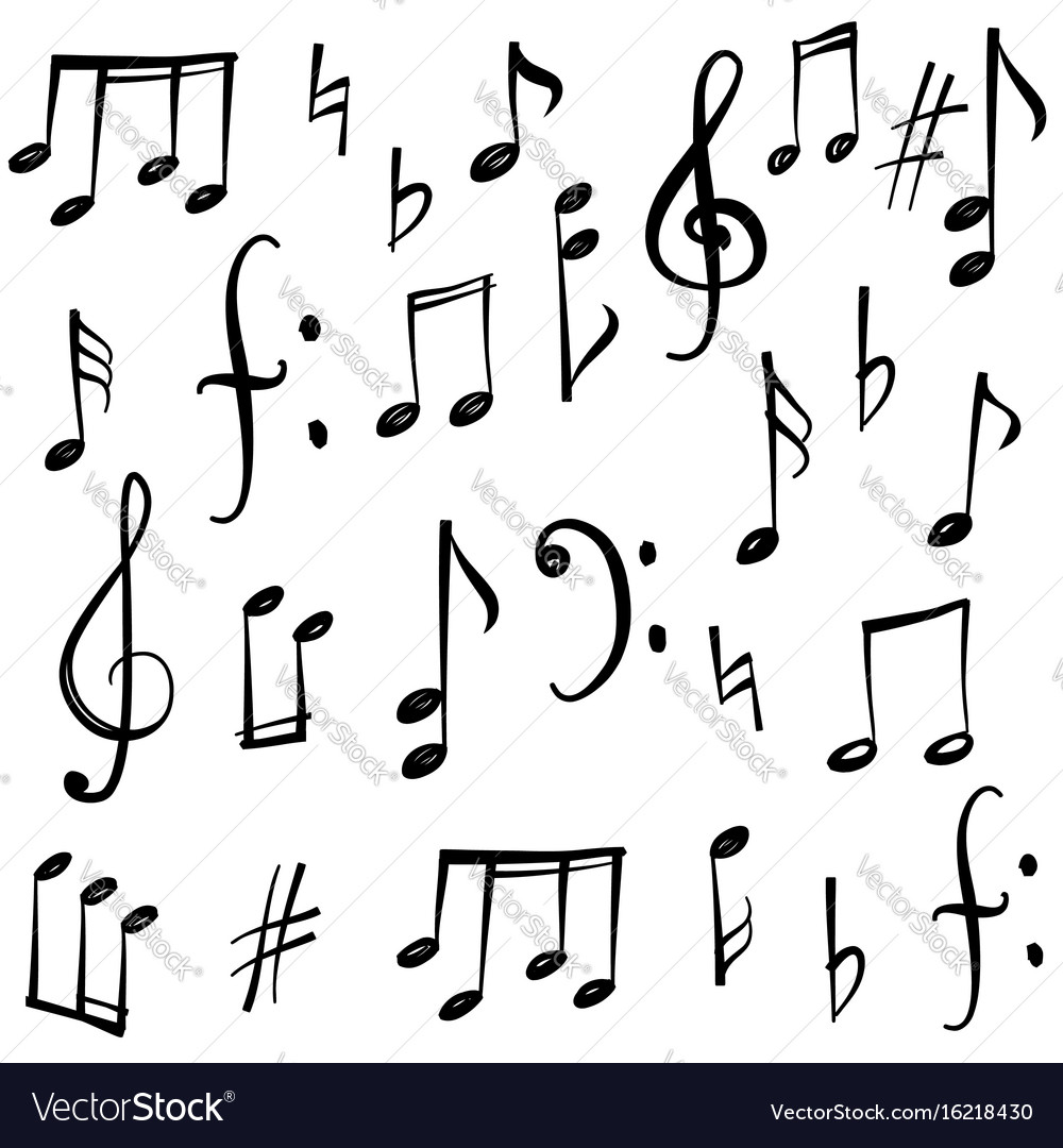 Music notes signs set hand drawn music symbol vector image buycottarizona Gallery