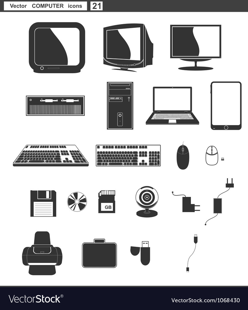Set web icons retro monitor and computer vector image