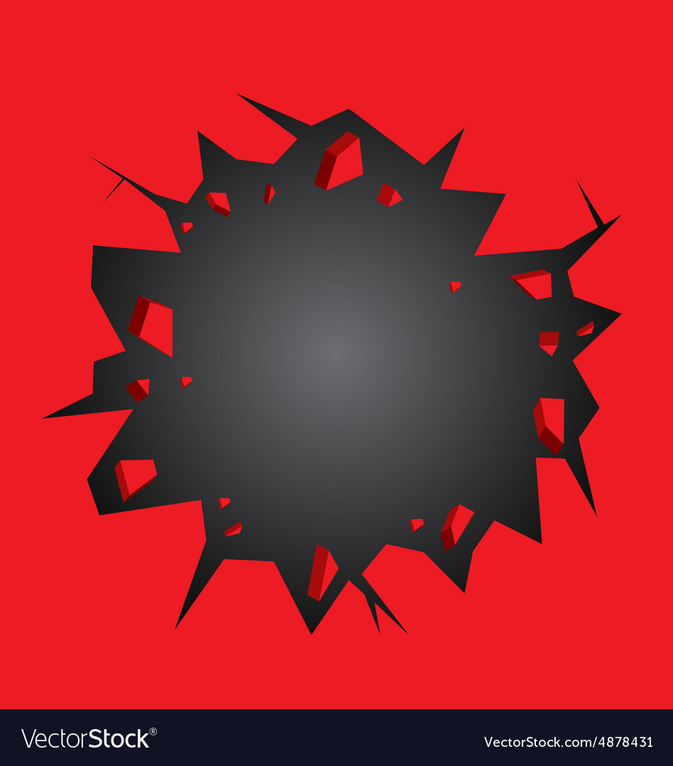 Hole cracked in the red wall vector image